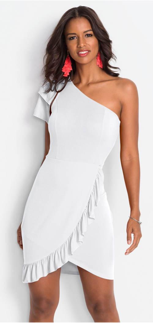 Bílé společenské šaty se zavinovacím volánem