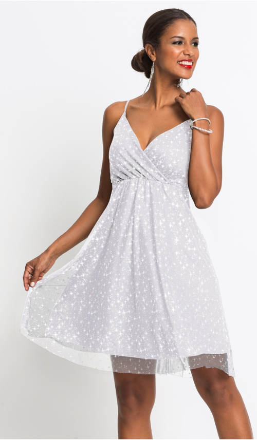 Bílé společenské šaty na tenká ramínka