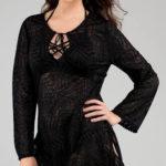 Černé plážové šaty krajkového vzhledu