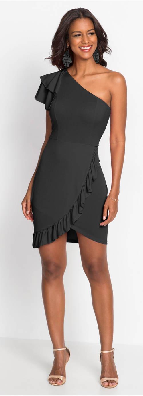 Krátké černé večerní šaty na jedno rameno