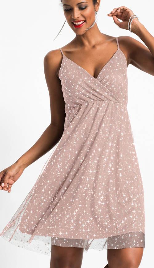 Růžové společenské vintage šaty