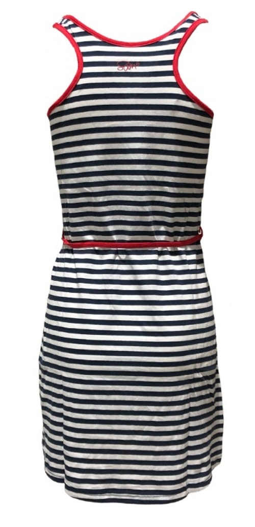 Námořnické letní šaty se sportovně vykrojenými zády