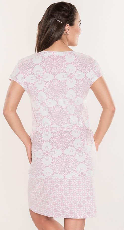 Bílo růžové letní mandala šaty
