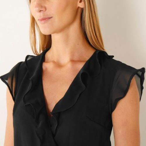 Černé šaty s halenkovým horním dílem