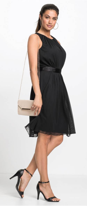 b5e2205acad4 Černé společenské šaty se saténovým páskem