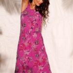 Dlouhé růžové maxi šaty s potiskem květin