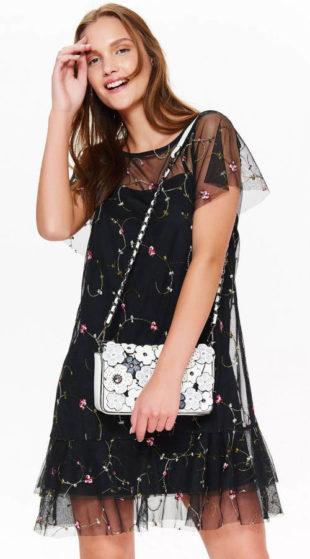 Dvouvrstvé šifónové šaty s květinovou aplikací