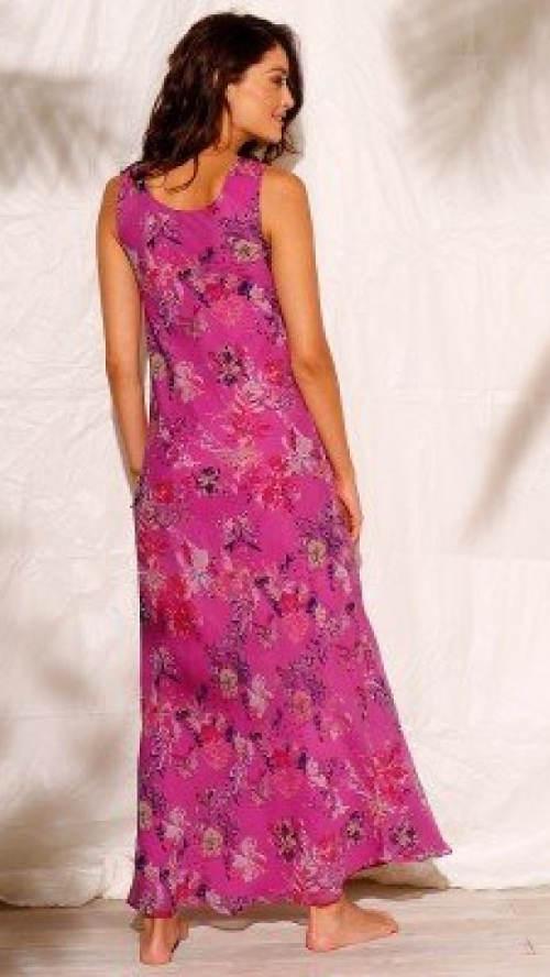 Fialové květinové maxi šaty