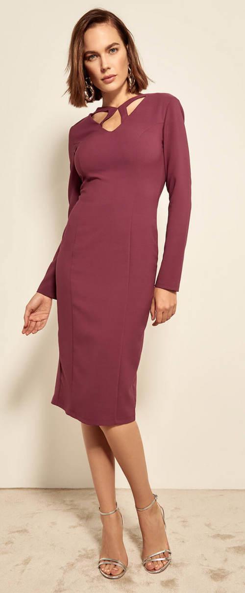 Fialové společenské midi šaty pro starší