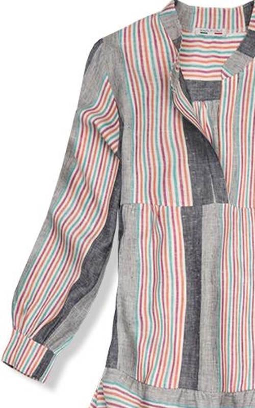 Košilové lněné šaty s dlouhým rukávem