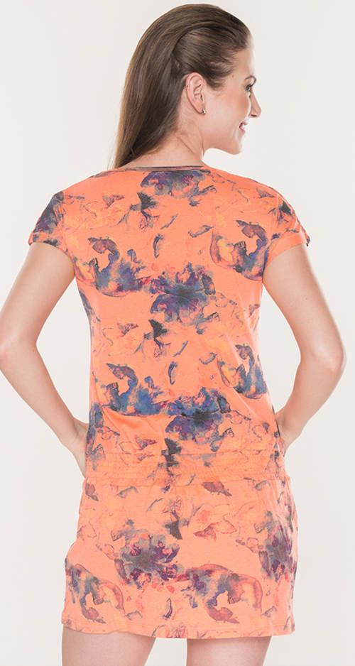 Letní oranžové šaty s gumou v pase