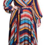 Pruhované maxi šaty pro plnoštíhlé