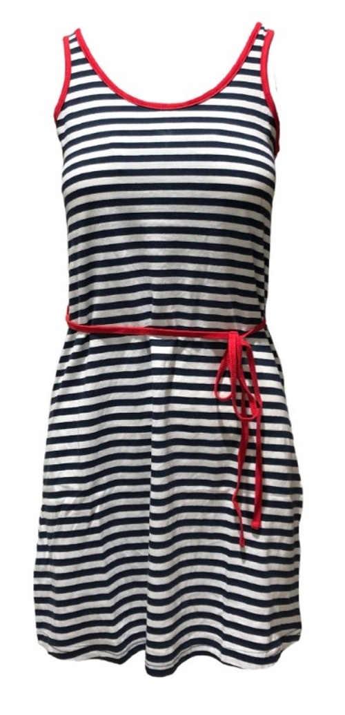 Pruhované modro-bílé námořnické letní šaty