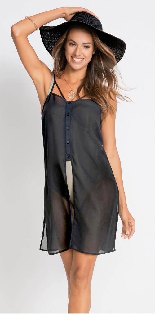 Průsvitné šifónové šaty přes plavky na knoflíčky