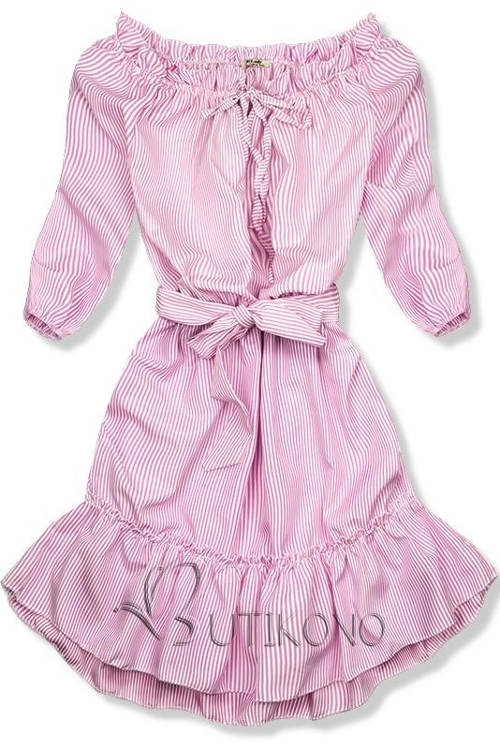 Romantické šaty s páskem na mašličku v pase