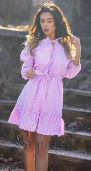 Růžové dámské šaty s jemným proužkem