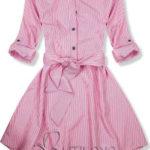 Růžové košilové šaty s dekorativním vázáním v pase