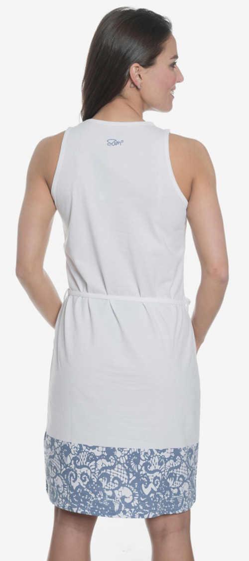 Bílomodré dámské letní šaty
