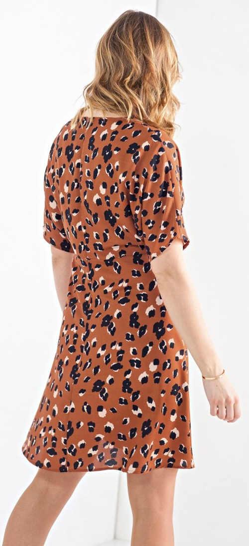 Hnědé animal dámské šaty