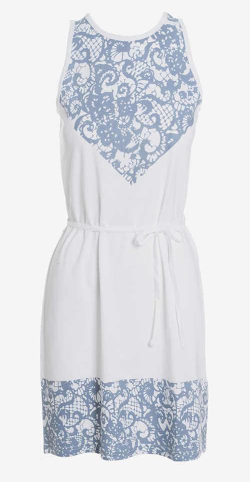 Letní šaty s potiskem a opaskem