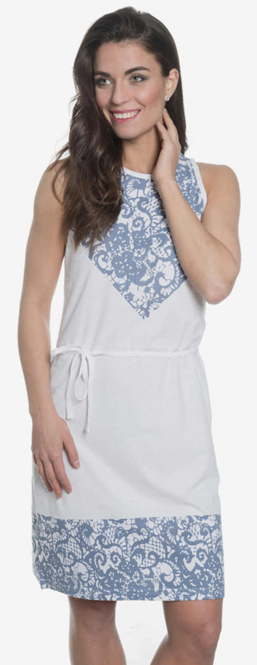 Bílé letní šaty s potiskem modré krajky