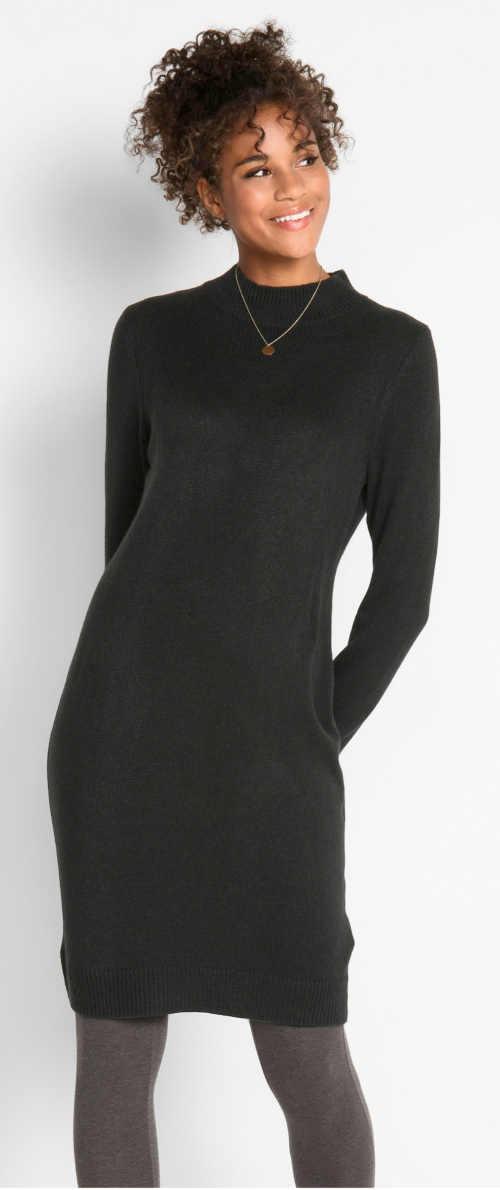 Černé úpletové zimní šaty k legínám