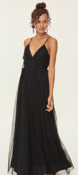 Dlouhé černé plesové šaty na tanká ramínka