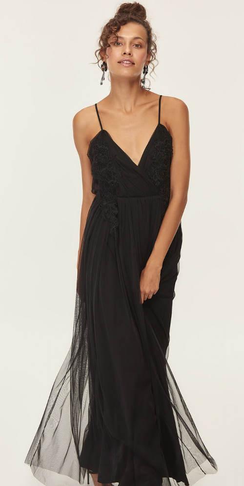 Dlouhé černé ramínkové šaty