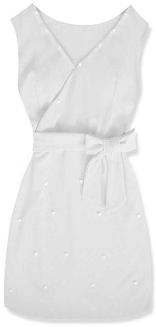 Elegantní bílé šaty s ozdobnými korálky