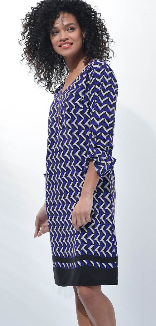 Modré dámské šaty s rukávy pro ohrnutí