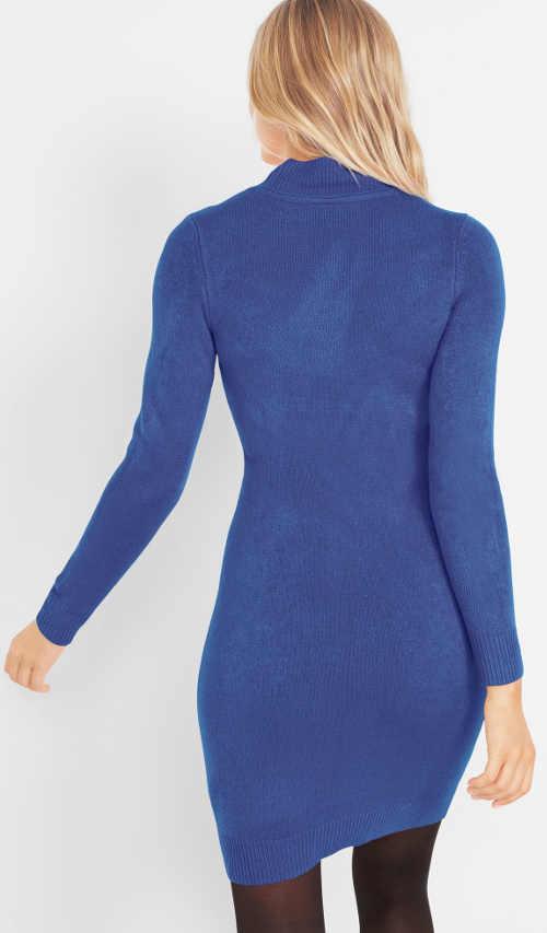 Modré úpletové zimní šaty s dlouhým rukávem