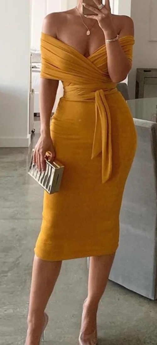 Žluté společenské midi šaty s odhalenými rameny