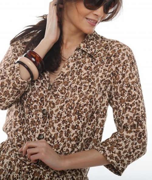 Leopardí košilové šaty