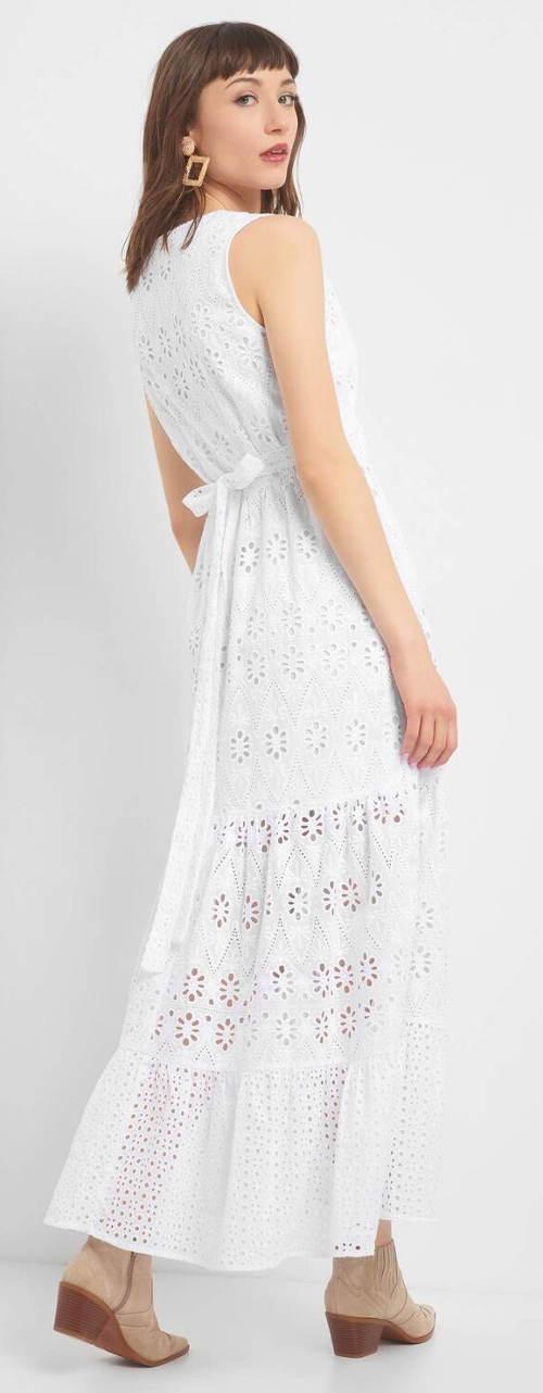 Ažurové maxi šaty s mašlí na zádech