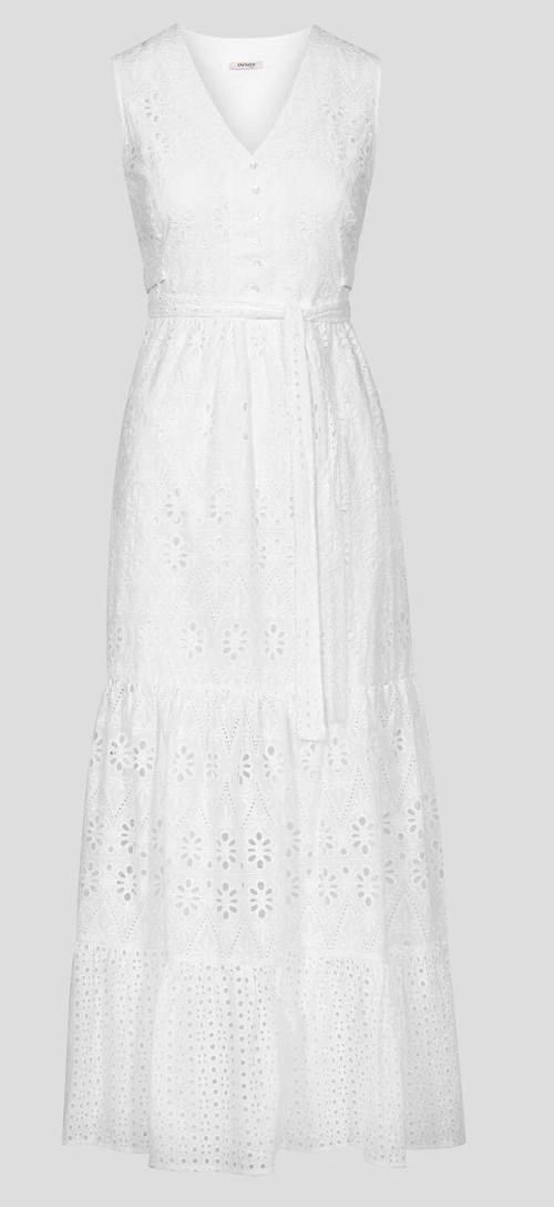Bílé ažurové šaty s délkou po zem