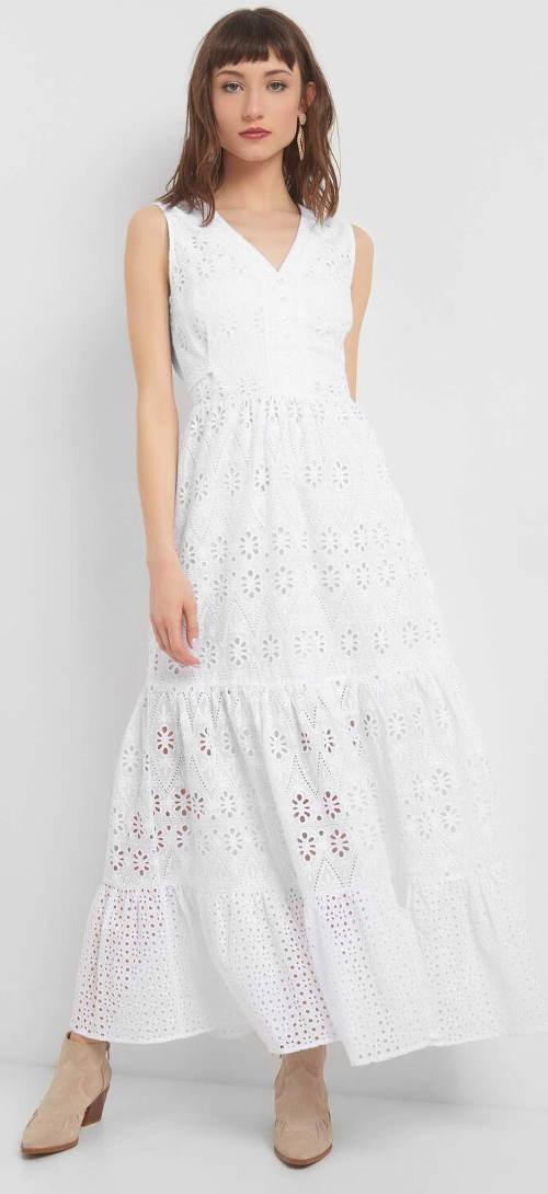 DLouhé bílé krajkové maxi šaty Orsay
