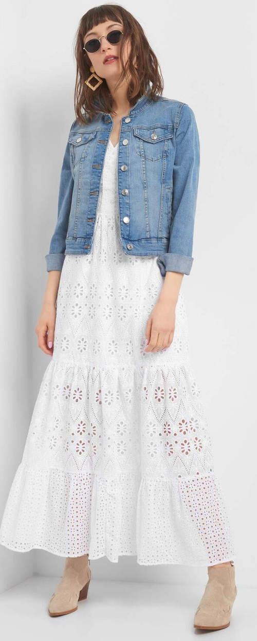 Dlouhé krajkové ažurové šaty