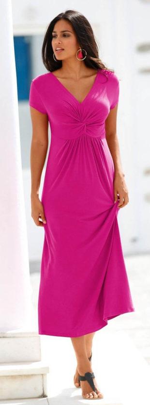 Dlouhé letní šaty s překřížením pod prsy