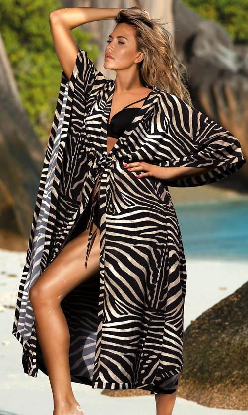 Dlouhé zebrované plážové šaty