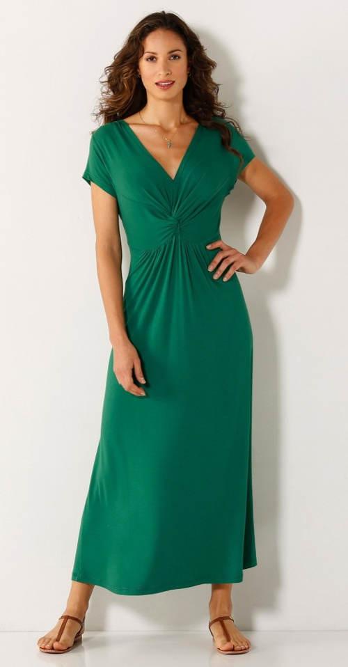 Dlouhé zelené šaty pro plnoštíhlé