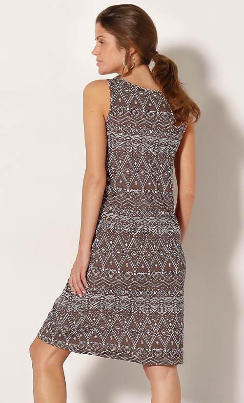 Hnědé dámské etno šaty