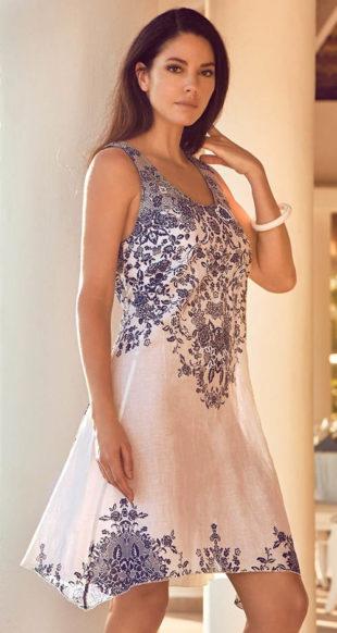 Italské plážové šaty s perleťovými korálky