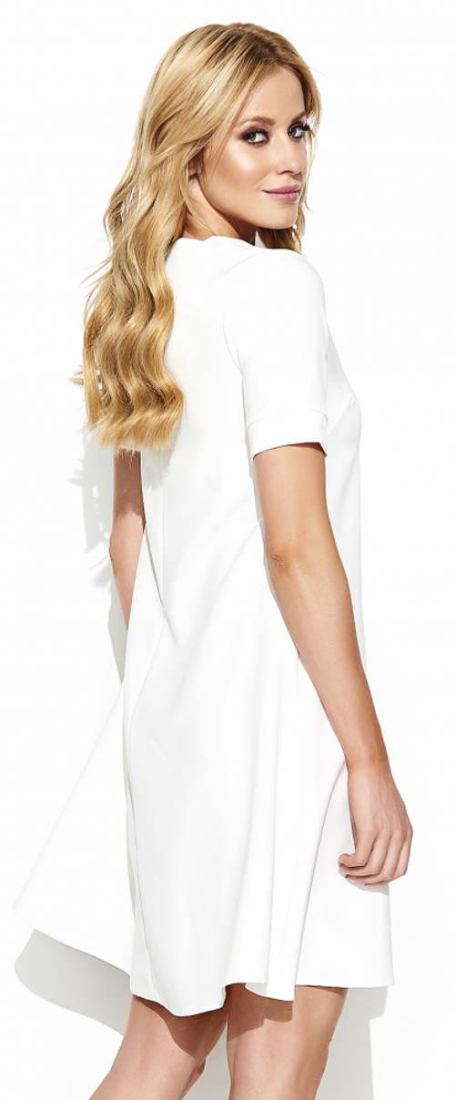 Jednobarevné bílé dámské šaty