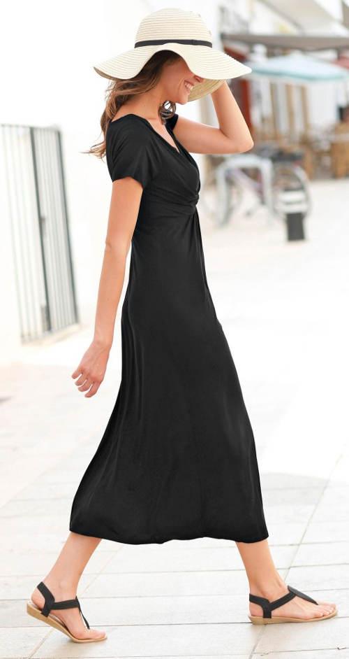 Jednobarevné černé maxi šaty