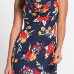 Květinové dámské šaty bez rukávů a s vodopádovým výstřihem