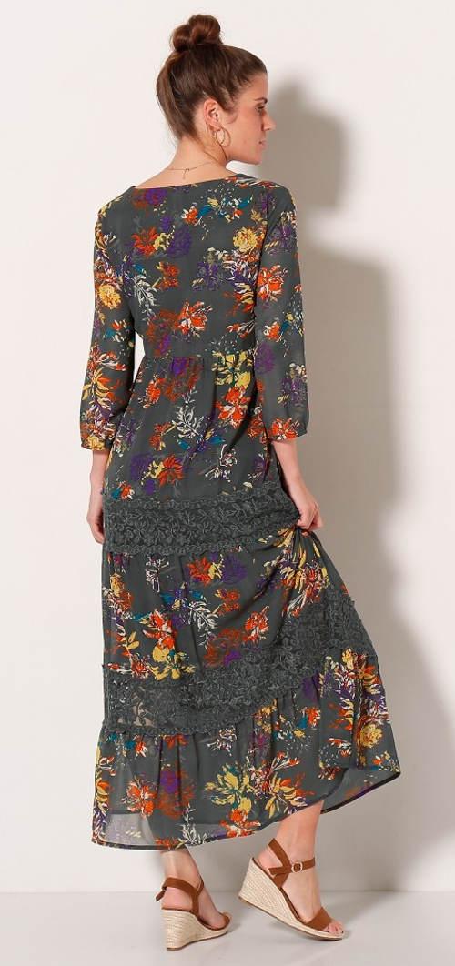 Květinové maxi šaty s krajkovými vsadkami