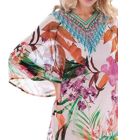 Lehounké plážové šaty s dlouhými netopýřími rukávy