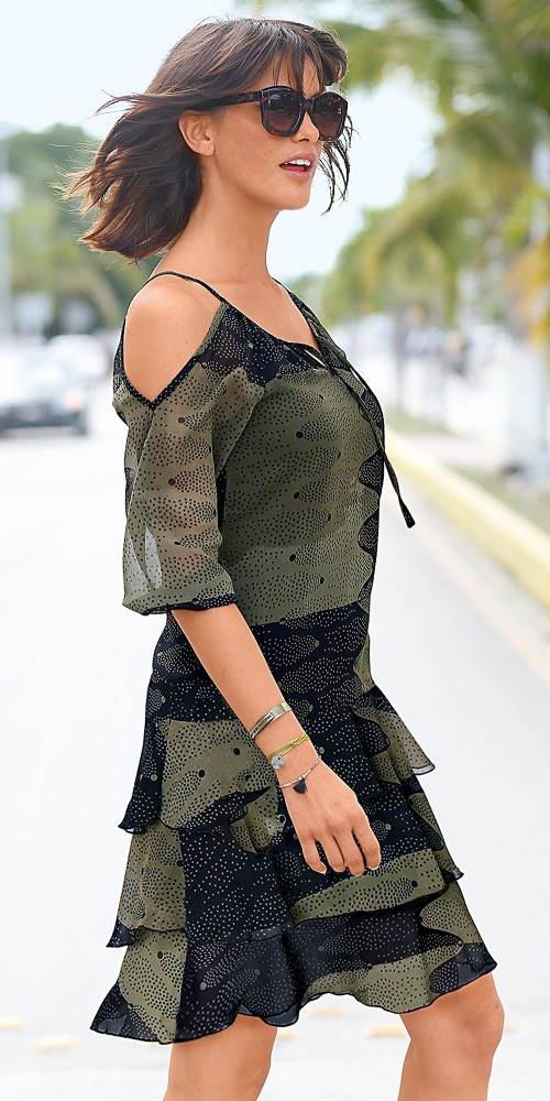 Lehounké šifónové šaty s vrstvenou volánovou sukní