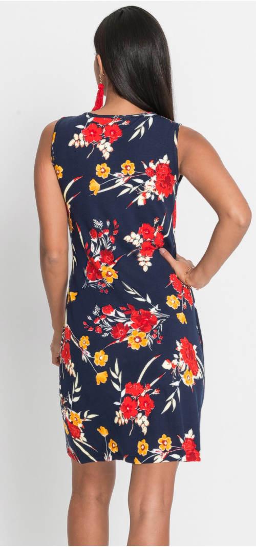 Modré květinové letní šaty
