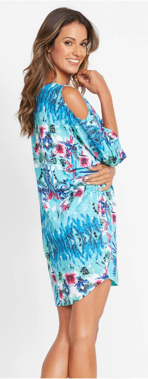 Modré letní šaty přes plavky